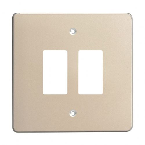 Varilight XDNPG2 PowerGrid Satin Chrome 2 Gang Grid Plate (Single Plate)